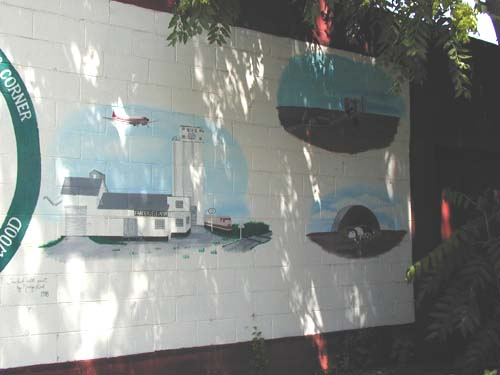 mural showing grain elevator, etc.