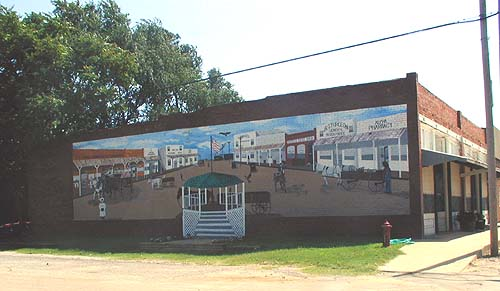 Mural of Ames Main St. looking east