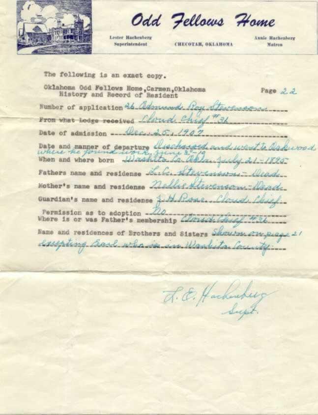 Demund Roy Stevenson - Carmen IOOF papers