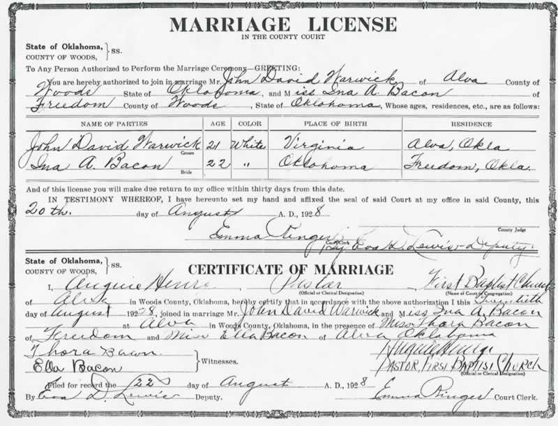 The Okie Legacy: marriage alva